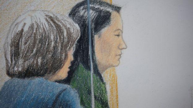 2018年12月7日,孟晚舟出席加拿大温哥华保释听证会的法庭画像