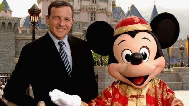 Roger Iger and Mickey Mouse in Hong Kong Disneyland Park