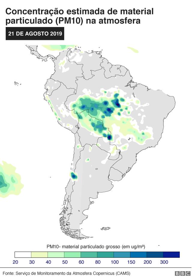 Concentração estimada de partículas na atmosfera