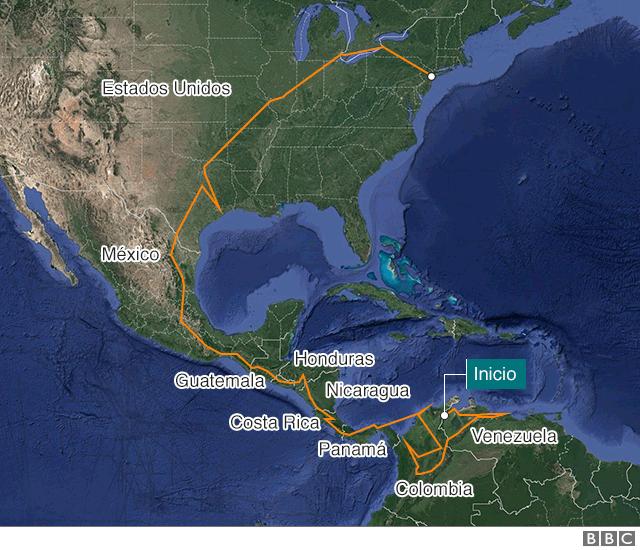 Mapa mostrando la ruta del viaje