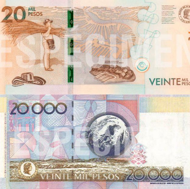 Billete nuevo y billete antiguo de 20.000 pesos.