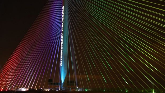 lights on Queensferry Crossing