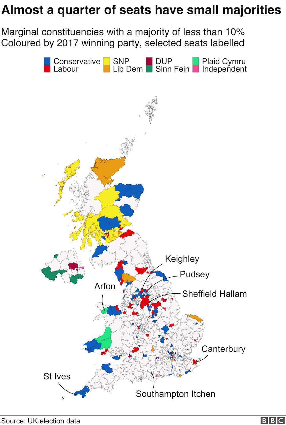 Map of marginal seats
