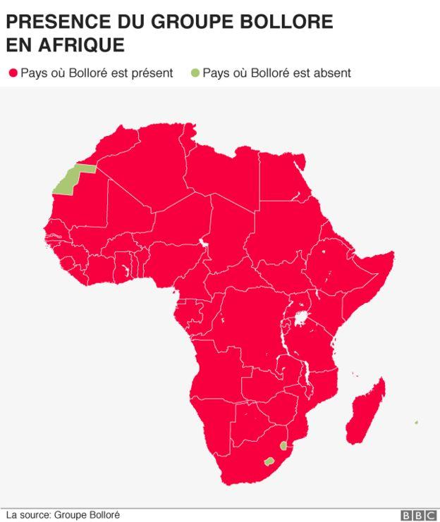 La présence de Bolloré en Afrique