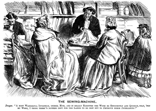 A Punch cartoon mocking the benefits of sewing machines