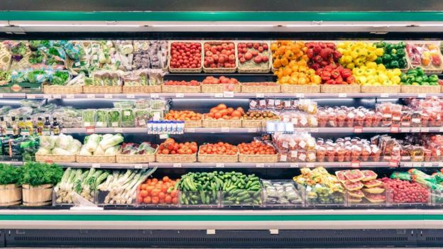 Vegetable section of a supermarket