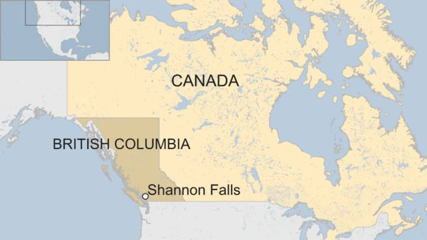 A BBC map showing the location of Shannon Falls in British Columbia