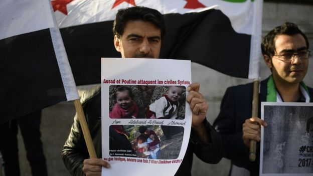 Protest against chemical weapons in Syria.