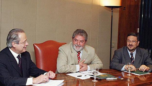 José Dirceu, Lula e Antonio Palocci em foto de arquivo