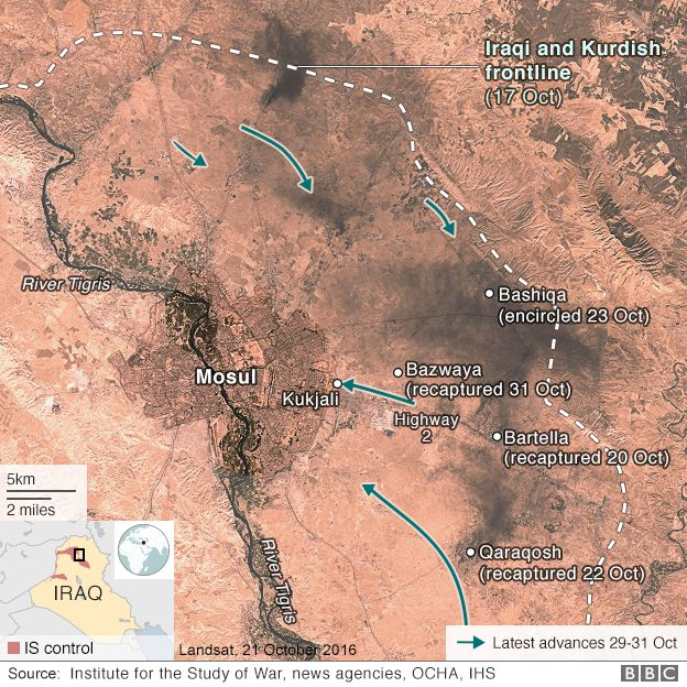 Battle for Mosul - map showing advancing troops