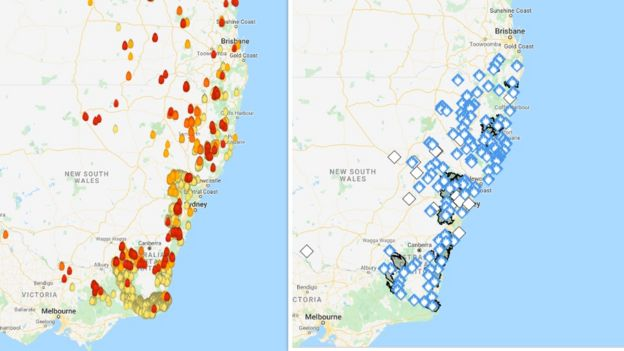 In contrast to MyFireWatch maps (right), blue symbols on New South Wales Rural Fire Service maps (right) give 'Advice' warnings, indicating no immediate danger