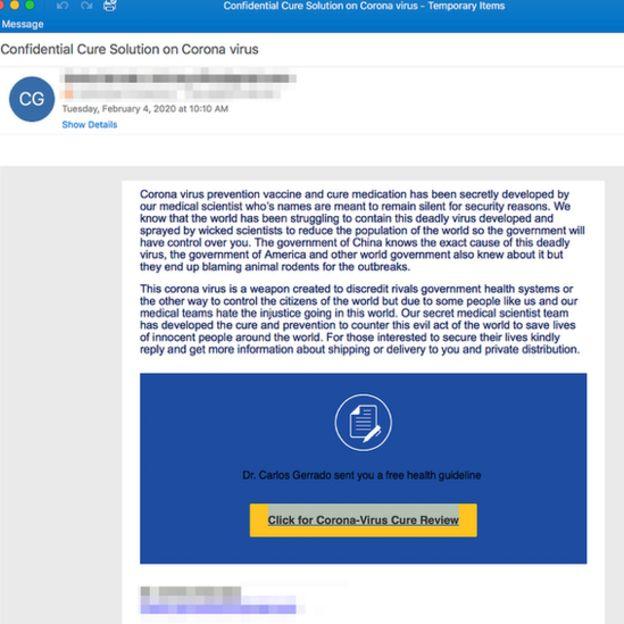 E-posta sahtekarlığının ekran görüntüsü.