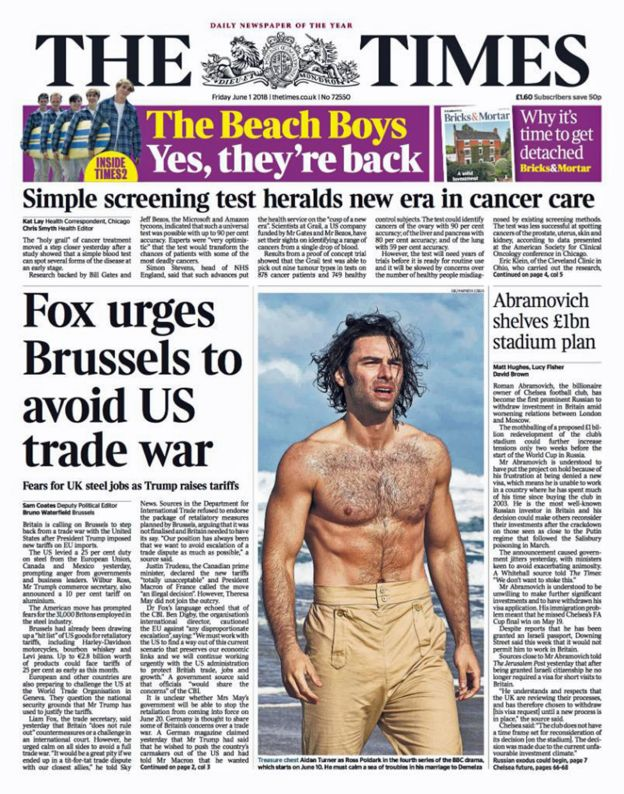 Times front page - 01/06/18