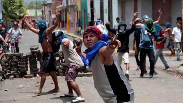 Manifestantes antigubernamentales en Nicaragua.
