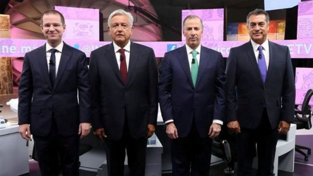 Ricardo Anaya, Andrés Manuel López Obrador, José Antonio Meade y Jaime Rodríguez