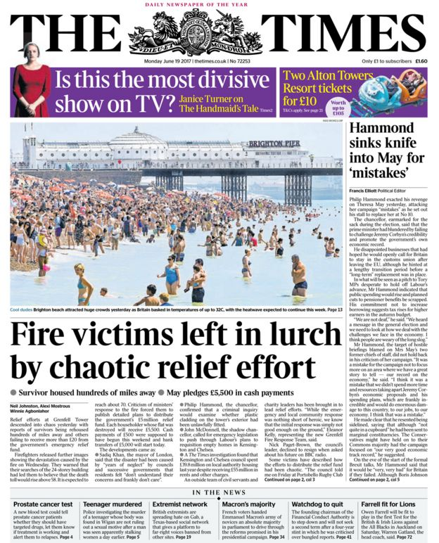 Newspaper review Grenfell Tower Inside hell BBC News – Newspaper