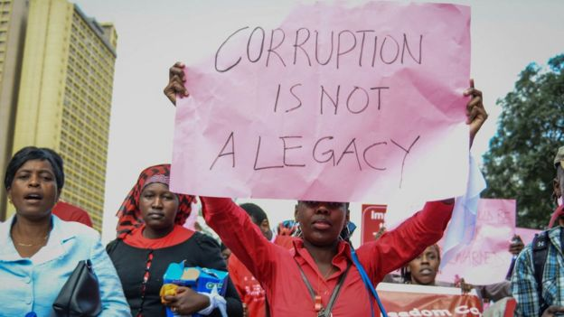 Kenyans protesting against corruption