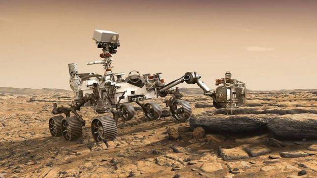 Ilustración del vehículo de exploración de Marte, el rover Mars 2020. (Ilustración: NASA)