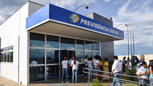 Fachada de agência do INSS em Jaraguá, Goiás