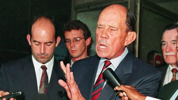 A Picture Taken On November 2 1995 Shows Former South African Military General Magnus Malan