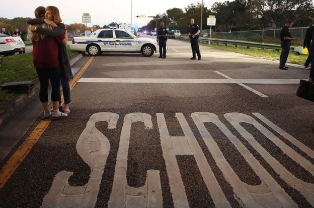Police seal off the Marjory Stoneman Douglas High School