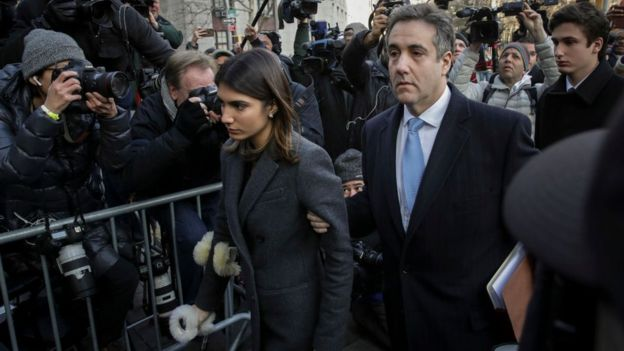 Michael Cohen arrived for his sentencing with members of his family
