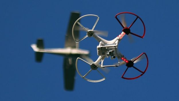 Drone with aircraft in background