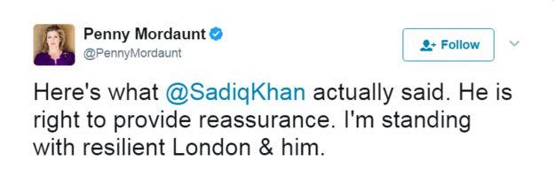 Tweet @ ŞadiqKhan'ın söylediği şey buydu.  Güvence vermek doğru.  Direnişli Londra & onunla duruyorum