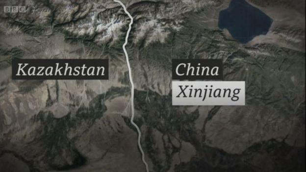 Peta perbatasan Kazakhstan dengan China.