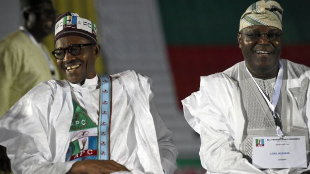 Muhammadu Buhari (L) and Atiku Abubakar (R)