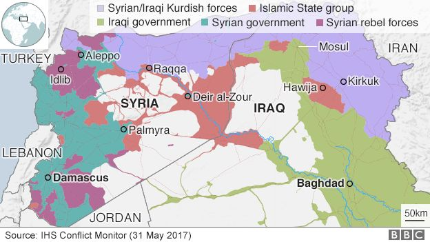 Map showing control of Syria and Iraq on 31 May 2017