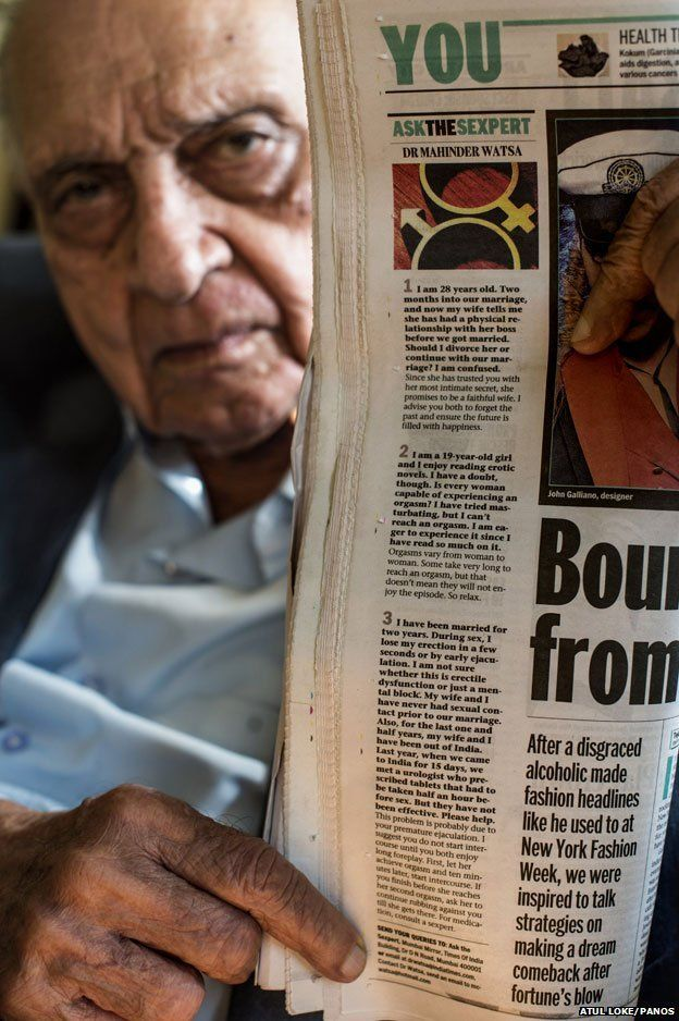 Dr Watsa holds up a copy of his column in the Mumbai Mirror