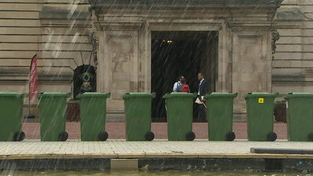 bins outside City Hall