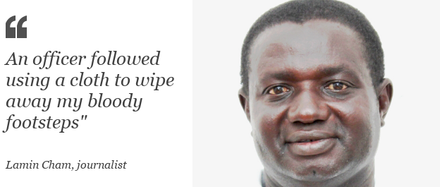 """Quote box - Lamin Cham: """"An officer followed using a cloth to wipe away my bloody footsteps"""""""