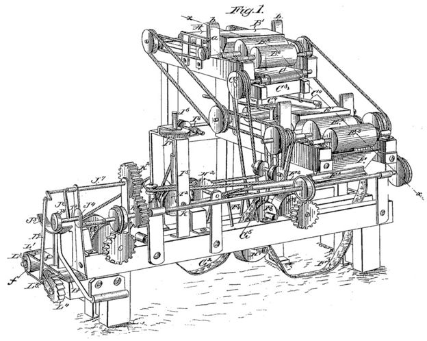 James Bonsack's original design for his cigarette-rolling machine