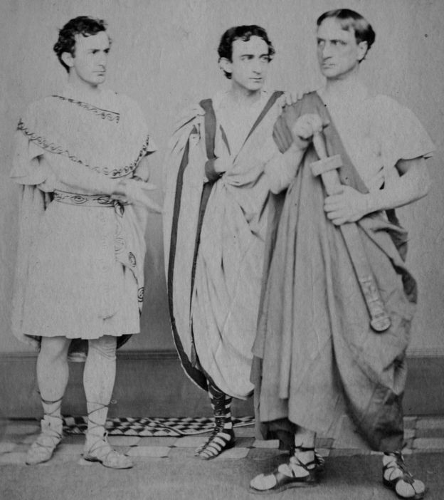 The actor John Wilkes Booth, who assassinated Abraham Lincoln in 1865 (with Edwin Thomas Booth, and Junius Brutus Booth Jr) in Julius Caesar, 1864,