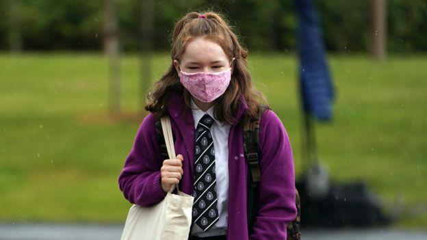 Scottish schoolgirl wearing face mask, August 2020