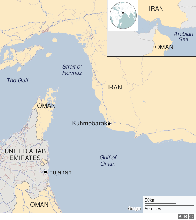 Map of Iran and Strait of Hormuz showing Kuhmobarak