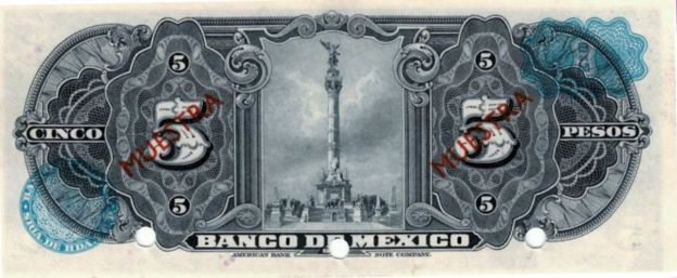 El reverso del billete de 5 pesos del Banco de México de 1925