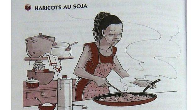 Un texto escolar de Congo que muestra a una mujer cocinando.