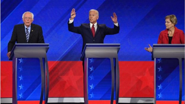 Democratic presidential hopefuls Bernie Sanders (left), Former US Vice President Joe Biden (centre) and Elizabeth Warren