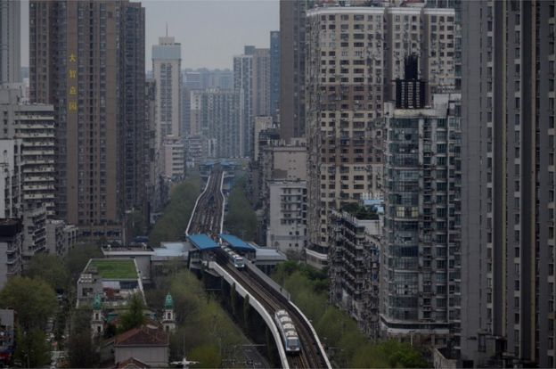 A general shot shot shows buildings in Wuhan, in China's central Hubei province on 28 March 2020.
