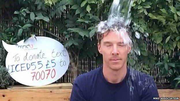 Benedict Cumberbatch doing the ice bucket challenge last year