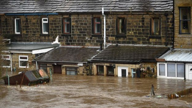 Flooded homes in Mytholmroyd, West Yorkshire, after Storm Ciara