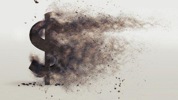 Ilustración de dólar despareciendo