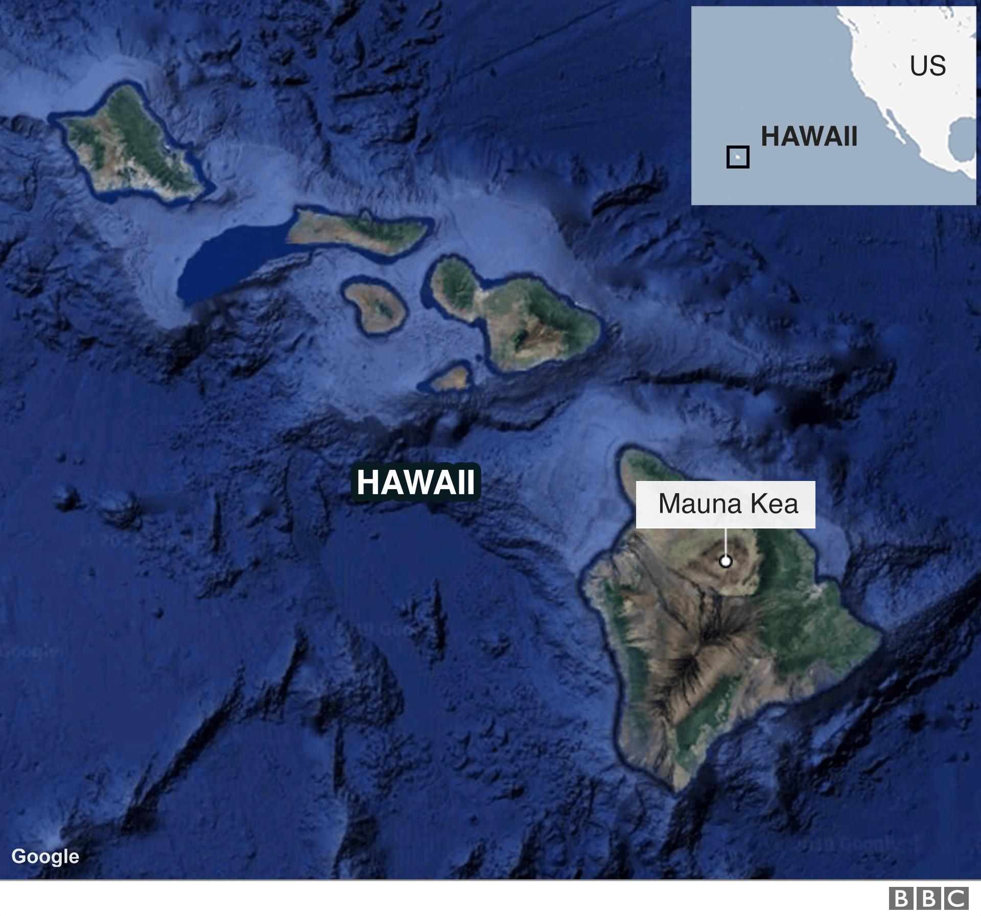 Un mapa muestra la ubicación de la Mauna Kea.