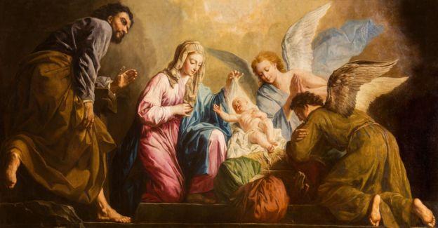 Pintura de la Natividad de Giovanni Antonio Pellegrini (1725-1727) en el presbiterio de la iglesia Salesianerkirche, en Viena.