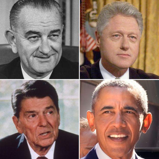 自左至右:林登·约翰逊、克林顿、里根、奥巴马都