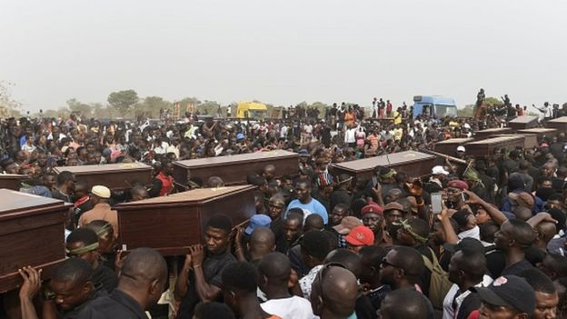 Pall bearers at a funeral service for people killed during farmer-herder violence in Nigeria in January