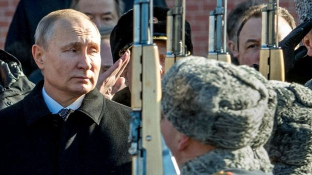 Russian President Vladimir Putin watches military parade in Moscow. File photo